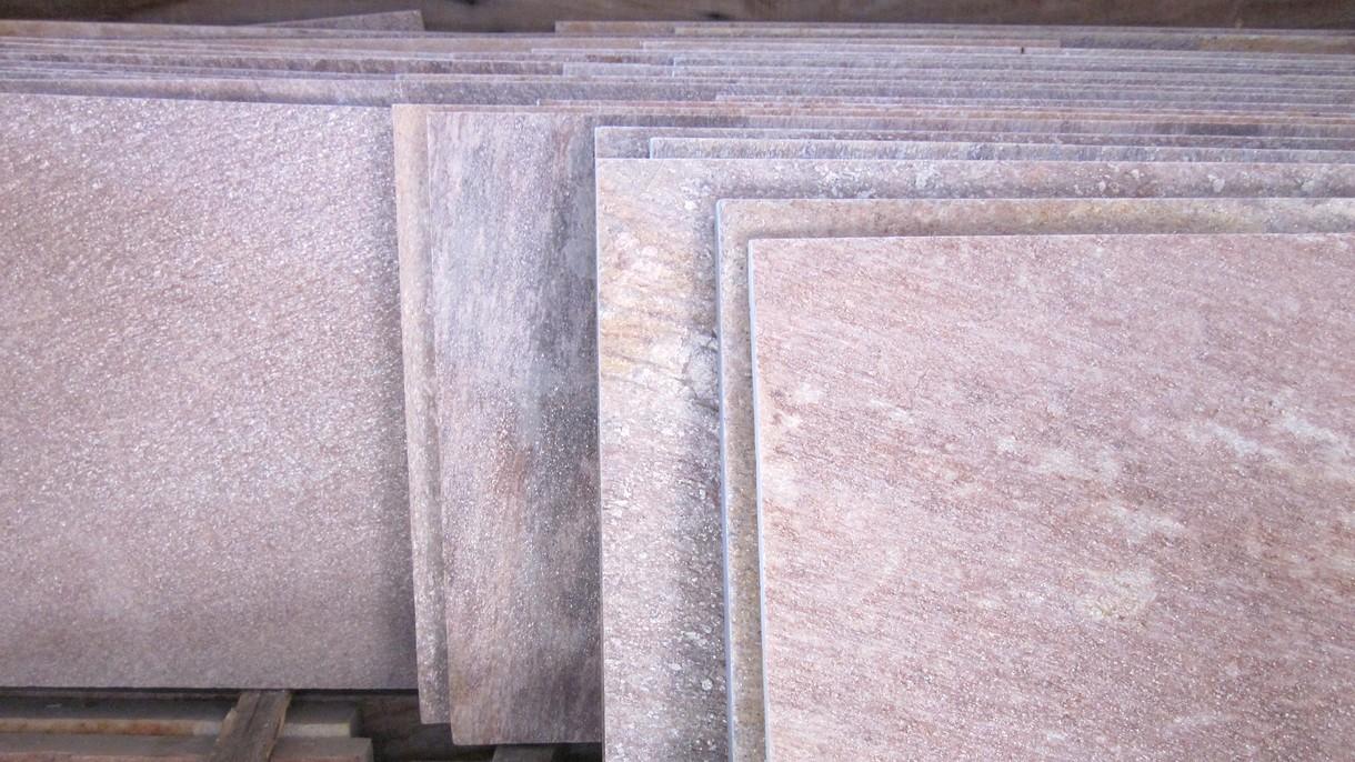 BRASILIANISCHER QUARZIT ROSE ROSANIARA, Bodenplatten, gespalten mit gesägten Kanten, 37 x freie Längen x 1-3 cm