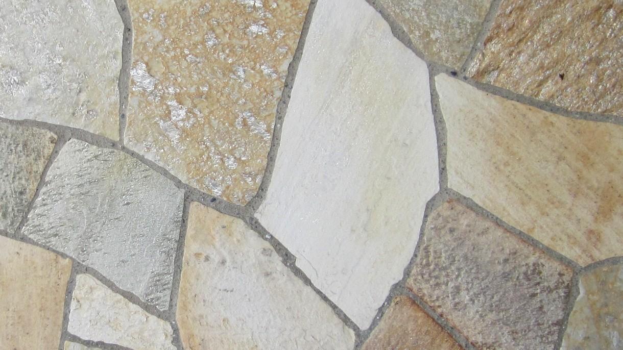 SOLEADO YELLOW GOLD, Polygonalplatten, gespalten, Großformat mittel x 3-3,5 cm